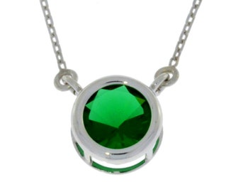 Emerald Round Bezel Pendant .925 Sterling Silver