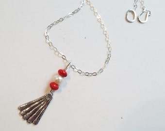 Fine Silver, Coral and Pearl Necklace
