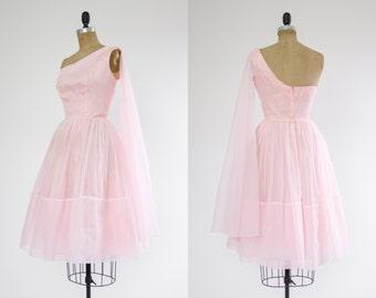 1950s pink dress | 50s party dress | vintage tulle dress