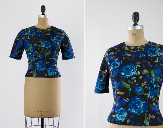 vintage 1950s black silk blouse | 50s Lord and Taylor floral rose blouse