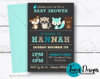 WOODLAND BABY SHOWER Invitation, Woodland Printable Boy Invitation, Woodland Fox Baby Shower, Fox Baby Shower Invitation, Boy Baby Shower