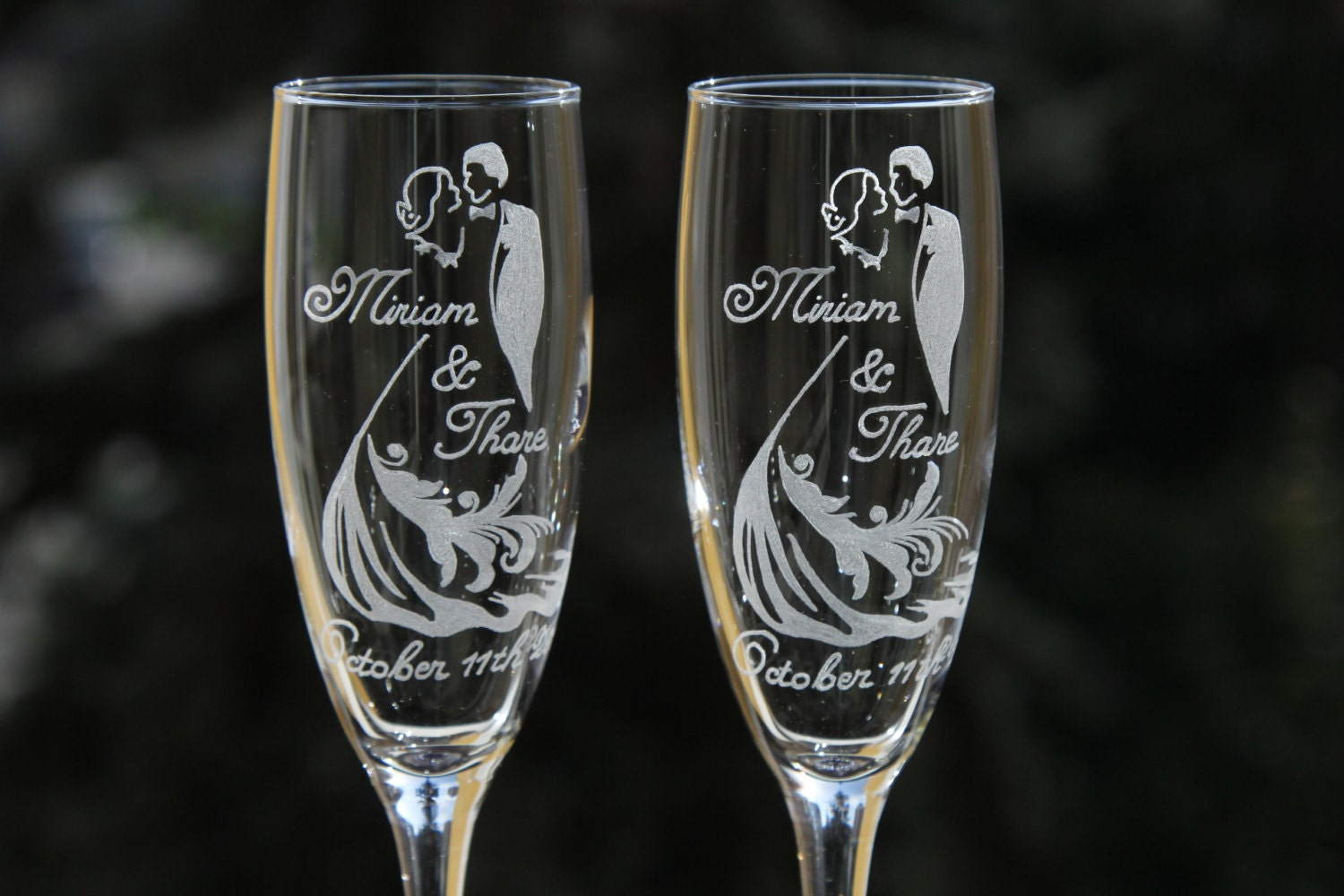 engraved wedding glasses personalized champagne glasses