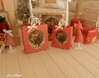 Christmas Paper Bags, Dollhouse Miniature,1:12  Scale Dolls House
