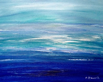 SALE Blue oil painting sea abstract Ocea art Water painting Sea art blue abstract fine art abstract painting 16 x 12 inch