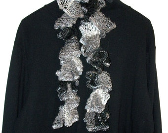 Sashay Scarf, Crocheted Scarf, Ruffled Scarf, Infinity Scarf, Knitted Scarf, Lace Scarf, Scarves, Black, White, Gray