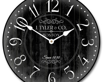 Harbor Black Wall Clock