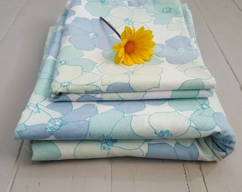 Vintage Bed Sheet Pillowcase Single Twin Blue Floral