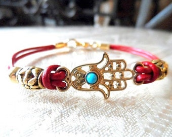 Hamsa Bracelet with Turquoise Bead on Red Leather Cord