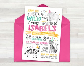 Girl Zoo Birthday Invitation, Wild Animal Birthday Party Invite, Giraffe Zebra Tiger Invite, Petting Zoo Invite - Digital File Only