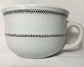 White Mug with Dotted Black Pattern