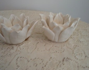 Votive candle holders, Lily Candle Holders,Two Artichoke shaped candle holders, sculptured candle holders, white ceramic candle holders