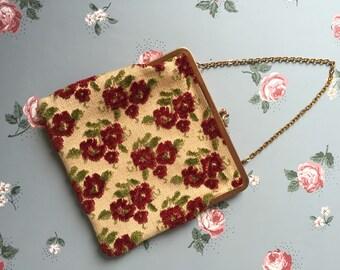 Amazing Pristine Antique Vintage Red Rose Textile Carpet Bag Purse