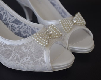 Wedding shoes, Handmade FRENCH GUIPURE Lace Bridal Wedding shoes 8616 short heel
