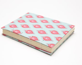 Blank Sketchbook // Journal - Light Blue and Pink - Handmade Blank Notebook - Lay Flat Sketchbook - Hard cover journal - Travel Journal