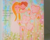 Valentine's card Love card  Romantic Cute couple Anniversary when you put your arms around me i am home Whimsical Original Greeting Card