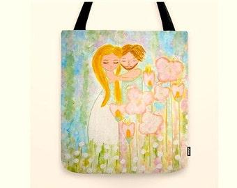 Shopper tote bag canvas art Whimsical Art Bag Enchanted Couple large Bag Pastel Gifts For Her Market Tote Bag