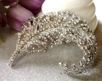 Extra Large Rhinestone Flatback Embellishment or Pin Clear Rhinestone Brooch Crystal Feather Broach Wedding Brooch Bouquet Sash DIY  SC10