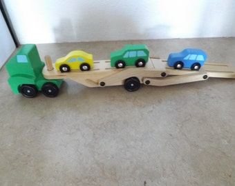 Wooden Car Carrier with three Cars