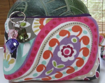 Small Black/Purple Floral Zippered Coin Purse, Clutch, Wristlet, Pouch