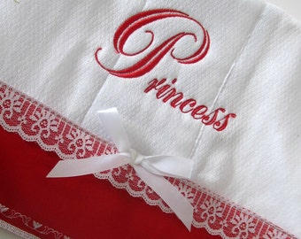 Princess burp cloth, white with red border and decorative stitch, new baby item, baby girl item
