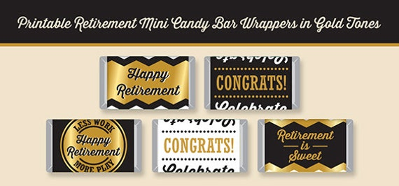 retirement mini candy bar wrappers printable digital file