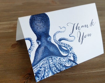 Blue Nautical Octopus Thank You Card