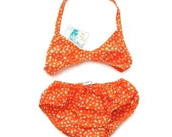 Nice bright orange vintage two pieces swim suit bikini 70s size 14 y new deadstock