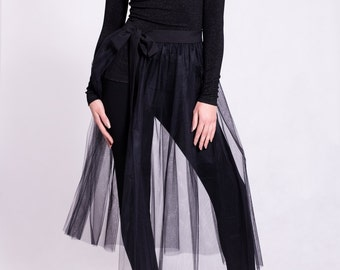 fly away skirt, tulle see-through skirt, tulle skirt, two layers of tulle
