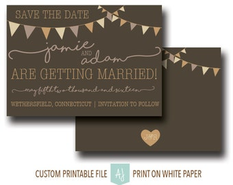 mason jar wedding invitation vintage save the date with bunting custom colors and