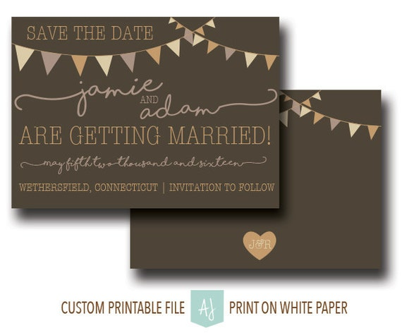 Mason Jar Wedding Invitation Vintage Save The Date With Bunting - Design your own save the date template