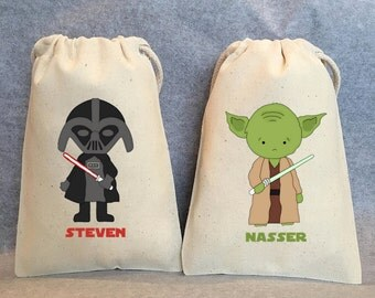 "20- Star Wars Party, Star Wars party Favor Bags, Star Wars Birthday, Star Wars, Chewbacca, Hans Solo, Darth Vader, Star Wars favors, 5""x8"""