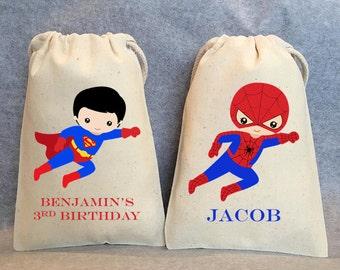 "12 - Superhero party, Superhero Birthday, Superhero favors, Batman Party, Superman, Robin, Superhero Party Favor Bags, Superheroes, 4""x6"""