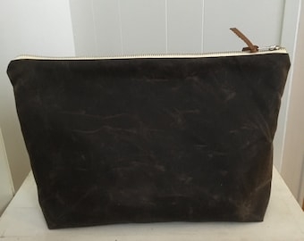 Waxed Canvas Zippered Pouch - Chocolate