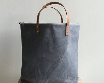 Waxed Canvas Zippered Tote - Charcoal