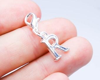 Letter R Charm. Silver Letter R Charm. Clip on Bracelet Charm. Alphabet Charm. SCC676