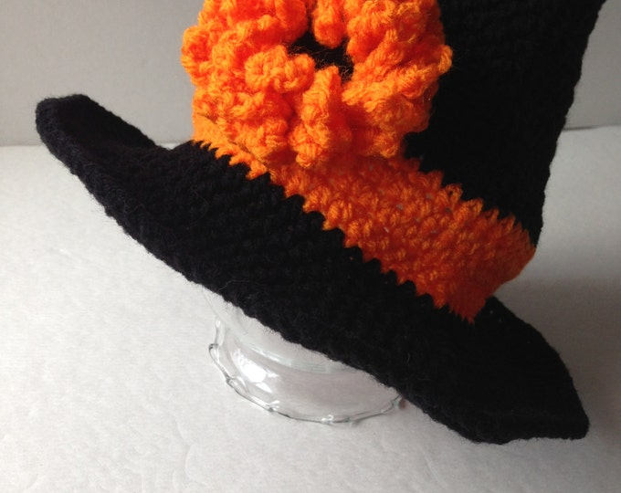 Witch Hat - Halloween - Hat Costume - Orange and Black - Handmade Crochet - Ready to Ship
