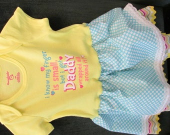 Father's Day gift from his baby, yellow bodysuit with double attached skirt