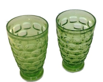 Vintage Thumbprint Drinking Glasses Footed Tumblers Vintage Kitchen Glassware