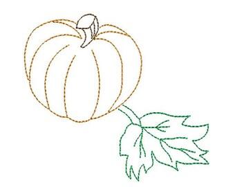 pumpkin redwork embroidery design
