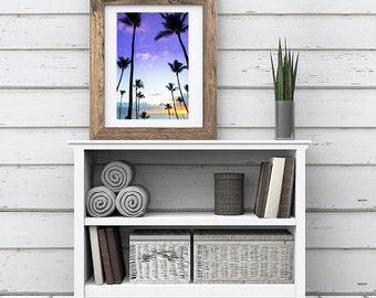 Maui Sunset, Hawaii Print Poster Beach Summer Heart Temple