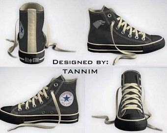 Ready for IMMEDIATE Shipping: House Stark Converse Chucks, Size 8 Mens (10 Womens)