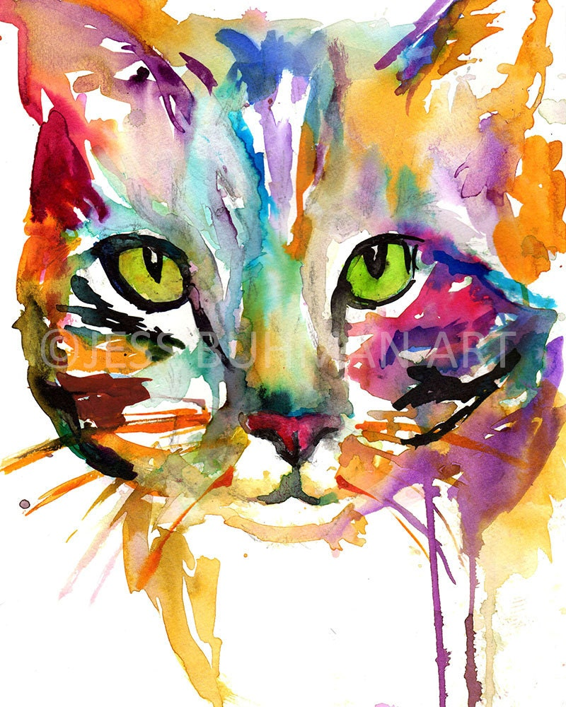 Cat watercolor print tabby cat painting watercolor painting for Cat paintings on canvas