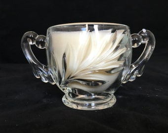 Soy Candle in Charming Glass Sugar Bowl