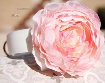 Beautiful  pink flower dog collar,wedding dog collar.Birthday Party dog collar.  pink flower with white collar for dog. handmade dog collar