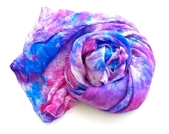 Hand painted Silk Scarf in shades of purple blue pink Free Shipping