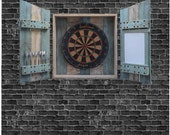 Rustic Tropical Dartboard Cabinet Made From Reclaimed Wood