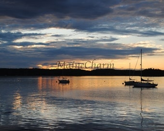 Lubec Harbor Sunset, Maine Photography, Sailboat Photography, Nautical Decor, Sunset Photography, Lubec Maine, Maine's working waterfront