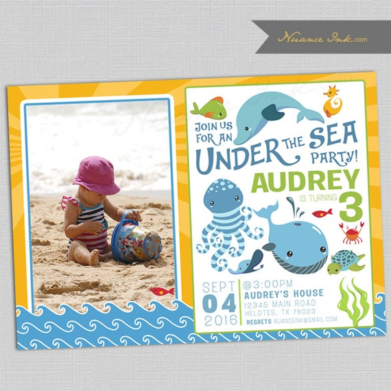 Under The Sea Birthday Party Invitations, baby shower, beach, pool, summer, printed or digital file, 24 hr turnaround, any color scheme