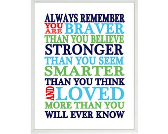Always Remember You Are Braver Than You Believe Quote, Nursery Wall Art, Inspirational Print, Typography, Baby Boy Nursery, Blue, Green, Red