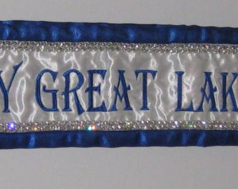 Custom Beauty Pageant Sashes with Crown and a Double Row of Rhinestones